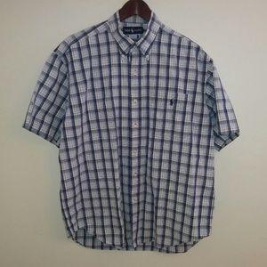 Ralph Lauren Mens L Blue S/S Button Up Shirt
